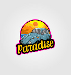 Vintage car logo for summer vacation on the vector