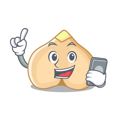 with phone chickpeas character cartoon style vector image