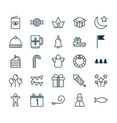 Year icons set collection of holiday ornament vector