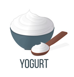 Yogurt healthy food style concept icon and label vector