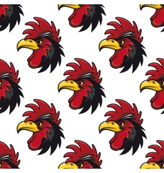 Cartoon cock or rooster seamless pattern vector image