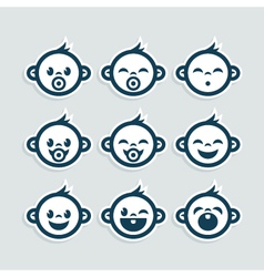 Cute Baby Boy Icons vector image vector image