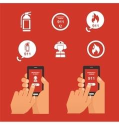 Emergency fire alert via telephone Set of Icon vector image vector image