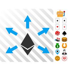 ethereum emission icon with bonus vector image vector image