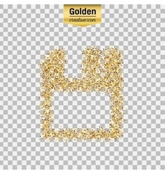 Gold glitter icon of save isolated on vector