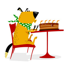 happy birthday for dog joyful dog sits at a table vector image vector image