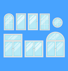 set of windows with different design of frames vector image vector image