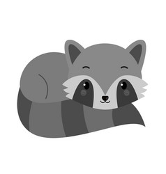 adorable raccoon in flat style vector image
