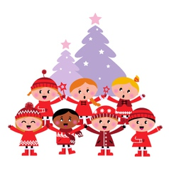 Caroling christmas kids vector