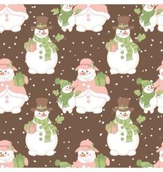 Christmas snowmen seamless pattern vector