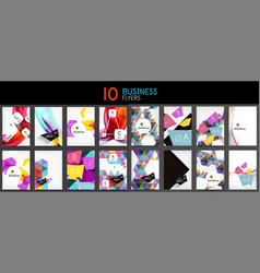 Collection of business annual report covers and vector