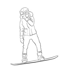 drawing snowboarder vector image