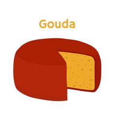 gouda cheese block cartoon flat style vector image vector image