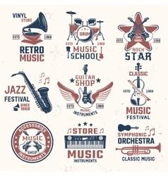 Music Retro Style Emblems vector image