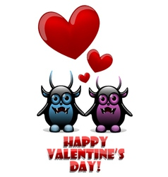 Valentines day card with devils in love vector image