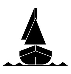 yacht front veiw icon black vector image vector image