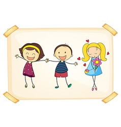 Girls and boy vector image vector image
