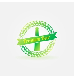 Premium beer bottle bright green logo vector image