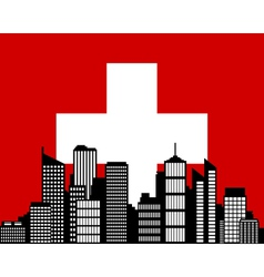city and flag of switzerland vector image vector image