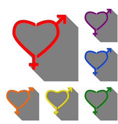 gender signs in heart shape set of red orange vector image vector image