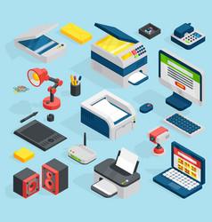 isometric office equipment technics vector image