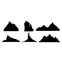 set of black and mountain vector image vector image