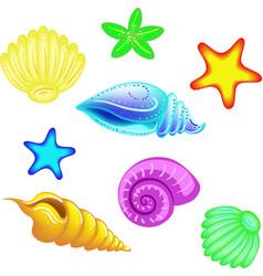 set of in a cartoon style sea vector image vector image