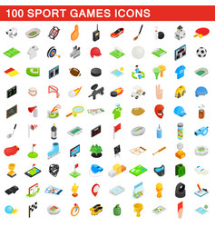 100 sport games icons set isometric 3d style vector