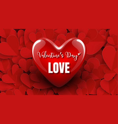 3d red heart design valentines day or wedding vector image