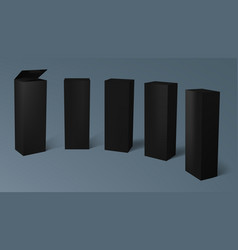 3d set of realistic vertical tall black cardboard vector image