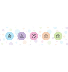 5 growing icons vector