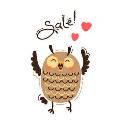 A joyful owl reports sale vector