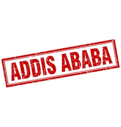 Addis Ababa red square grunge stamp on white vector