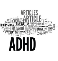 Adhd article help guide text word cloud concept vector