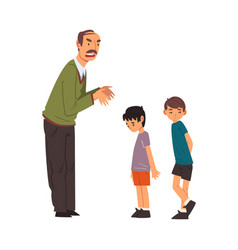 angry mature man scolding naughty boys man vector image