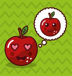 apple kawaii fruit with speech bubble character vector image