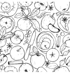 Apples berries and spices seamless pattern vector