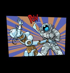 astronaut beats up female robot domestic violence vector image