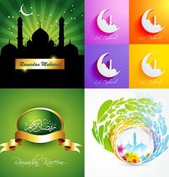 Attractive set of ramadan kareem background vector