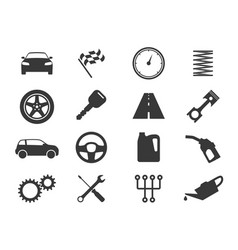 auto icons black vehicle silhouettes auto vector image