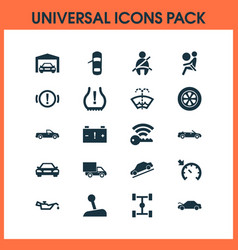 Auto icons set with airbag caution washer fluid vector