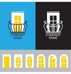 balcony icon with a set of different windows vector image