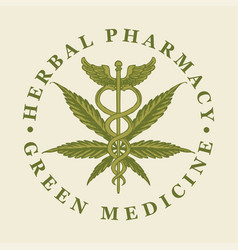 Banner for green medicine with cannabis leaf vector