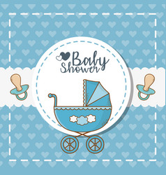 bashower card with blue cart vector image