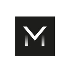 black logo letter m in square vector image