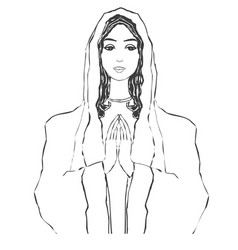 Blessed virgin mary portrait isolated vector