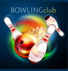 bowling ball flying over rainbow vector image