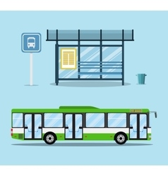 Bus stop with seats and green city bus vector