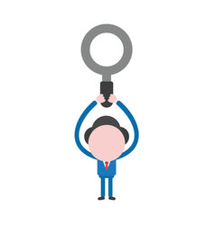 businessman character holding up magnifying glass vector image