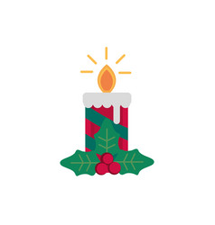candle holly berry decoration happy christmas icon vector image